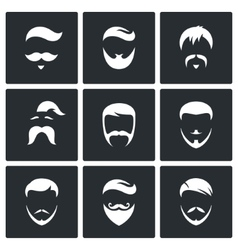 Retro mens hair styles icon set vector
