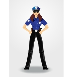 Policewoman or cop woman in uniform vector