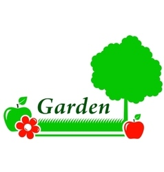 Garden background with tree flower green grass vector