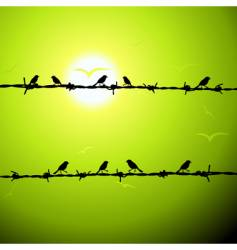 Birds on wire silhouette vector