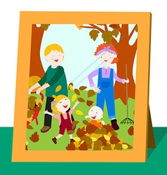 Family photo in fall vector