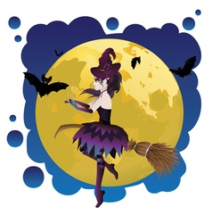 Witch and full moon11 vector