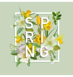 Floral Spring Graphic Design - with Narcissus vector image