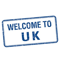 Welcome to uk blue grunge square stamp vector