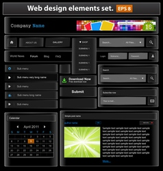 web design elements set black2 vector image