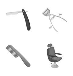 A razor a mechanical hair clipper an armchair vector