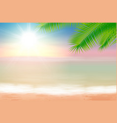 beach and tropical sea with palmtree leaves vector image