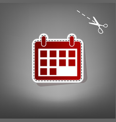 Calendar sign red icon with vector