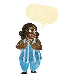 cartoon happy cook with speech bubble vector image vector image