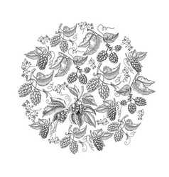 Circle pattern hop foliated doodle vector