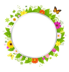 circle with flowers vector image vector image