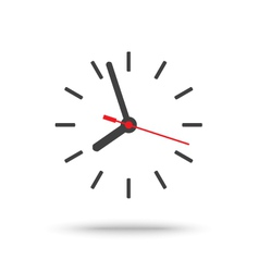 Clock icon with red second hand isolated vector image vector image
