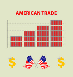 Colored infographic growing american trade vector