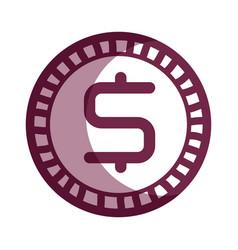 Contour dollar coin currency icon vector