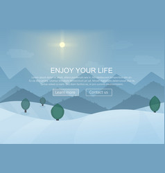 Day cartoon Winter Mountain Forest Landscape vector image