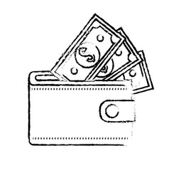 Figure wallet with dolars bills inside vector