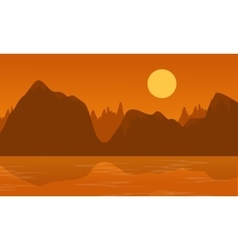 Flat of cliff and lake landscape vector