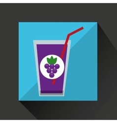 Fresh juice grapes and cup glass straw design vector