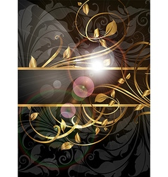 Golden floral banner vector
