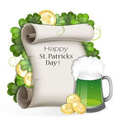 Green beer with coins and clover vector image vector image