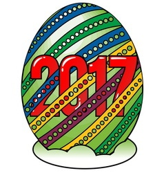 Happy New Year in egg shape vector image vector image
