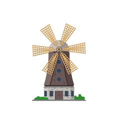holland medieval windmill isolated icon vector image vector image