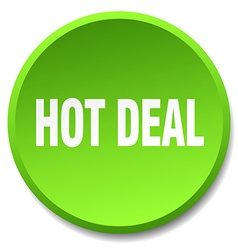 Hot deal green round flat isolated push button vector