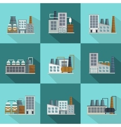 Industrial buildings long shadow flat icons vector