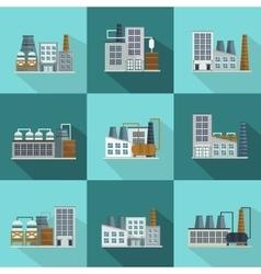Industrial buildings long shadow flat icons vector