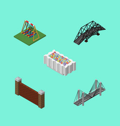 Isometric city set of flower decoration vector