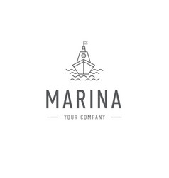 Marina steering wheel logo template vector