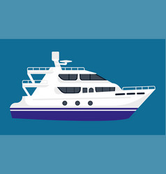 Passenger liner in white color isolated on blue vector