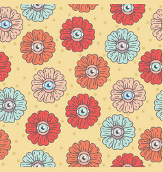 Pattern with flowers eye daisy vector