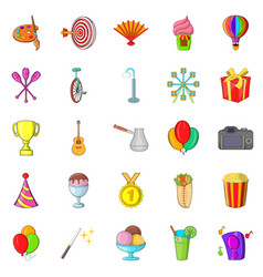 Performance icons set cartoon style vector