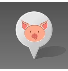 Pig pin map icon animal head vector