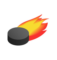 Puck with flame isometric icon vector image