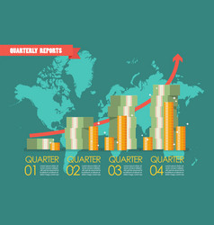 Quarterly reports with wolrld map infographic vector