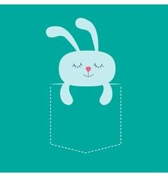 Rabbit hare sleeping in the pocket Cute cartoon vector image vector image