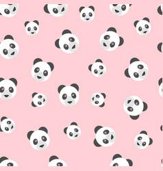 seamless panda bear pattern on pink background vector image vector image