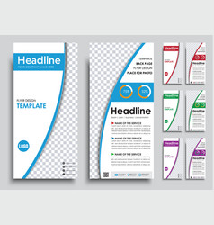 Set of narrow white flyers in 4 color options vector