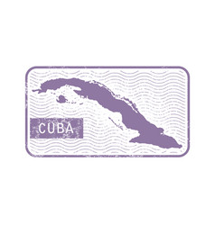 stamp with contour of map of cuba vector image vector image