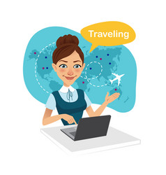 Travel agency bannertravel agent works for laptop vector