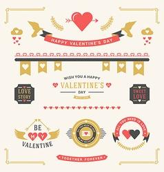 Valentines day set labels badges frames borders vector