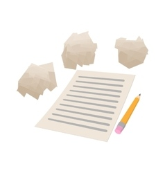 White sheet of paper and crumpled paper icon vector image