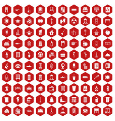 100 cleaning icons hexagon red vector