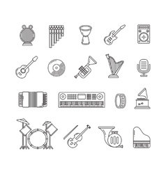 Music concert instruments thin line icons vector