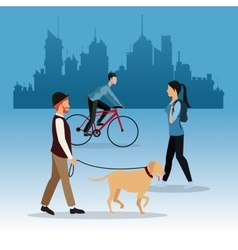 Man dog girl walking and guy ride bike city vector