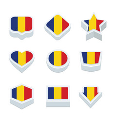 Romania flags icons and button set nine styles vector