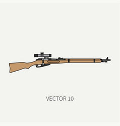 line flat color military icon rifle vector image