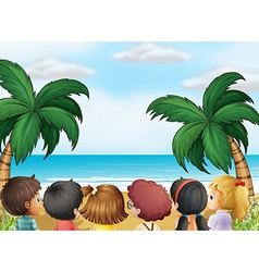 A group of kids at the beach vector